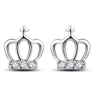 Ohrringe Krone Silber 925 Plattiert Crown Prinzessin