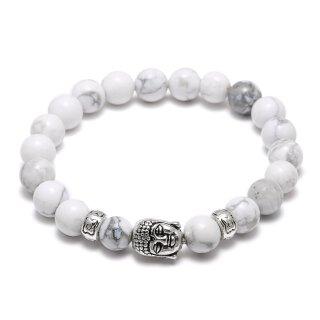 Armband Perlen Weiß Buddha Echt Stein Elastisch Silber