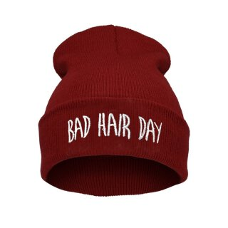 Bad Hair Day Beanie Mütze Dunkelrot