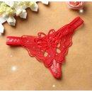 String-Tanga Damen Unterwäsche mit Spitze Unterhose G-Schnur Schwarz Lila Rot