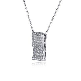 Halskette Elegant Glitzer Welle Anhänger Echtes Sterling-Silber 925
