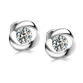 Ohrringe Blume - Swarovski Elements - Sterling-Silber 925