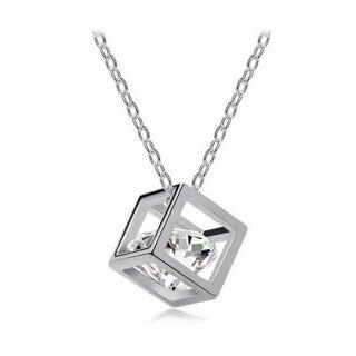 Halskette Elegant Glitzer Würfel Quadrat Anhänger Echtes Sterling-Silber 925