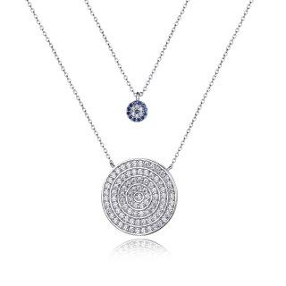 Modische runde Glitzer-Halskette Nazar Weiß Blau | Echtes Sterling-Silber 925 | Doppelt mit 2 Kreis-Anhängern | Für Frauen Damen Kinder Mädchen Stylisch Geschenk