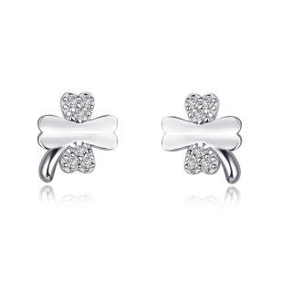 Modische Kleeblatt-Ohrringe | Echtes Sterling-Silber 92 | Zirkon Kristall | Für Frauen Damen Kinder Mädchen | Glitzer Strass