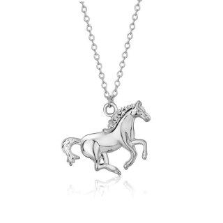 Halskette Pferd Anhänger 18k Weißgold plattiert Horse