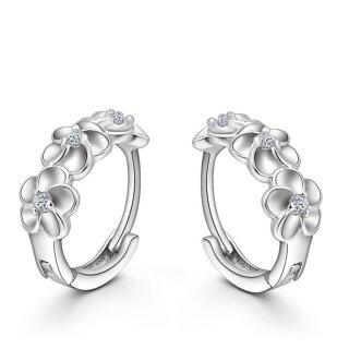 Creolen Blumen Kristalle 925 Sterling Silber