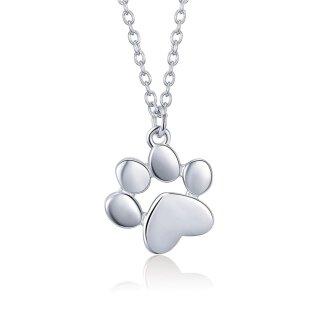 Halskette Hundepfote Anhänger 925 Sterling-Silber Hund Dog