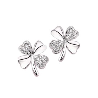 Ohrringe Kleeblatt glänzend Silber 925 Plattiert Glitzer Glücksbringer