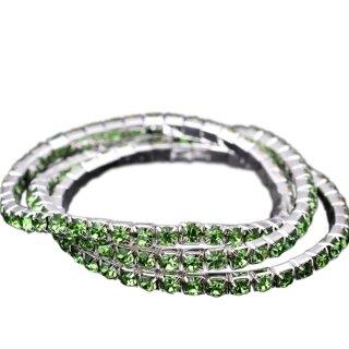 Armband vergoldet Kristall Glitzer Elastisch Strass Grün Peridot