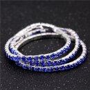 Armband vergoldet Kristall Glitzer Elastisch Strass Blau Saphir