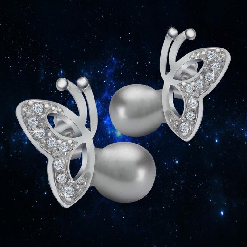 Schmetterling Silber Plattiert Ohrringe Modische Perlen 925 SUMLqVzpG