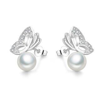 Modische Perlen-Ohrringe Schmetterling mit Silber 925 Plattiert