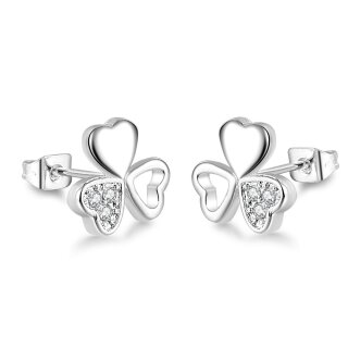 Ohrringe Kleeblatt glänzend Silber 925 Plattiert Glitzer Glücksbringer Zirkonia