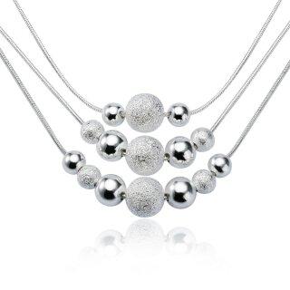 Halskette Perlen Kugeln Anhänger Silber 925 plattiert