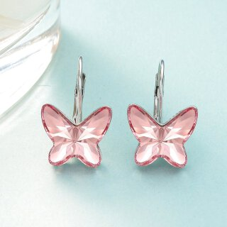 Swarovski Elements - The Pink Butterfly Rosa Rhodium